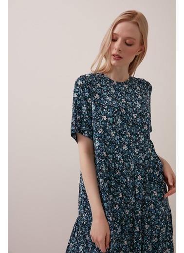 Gusto Çıtır Çiçekli Uzun Pamuklu Elbise - Mavi Çıtır Çiçekli Uzun Pamuklu Elbise - Mavi Mavi